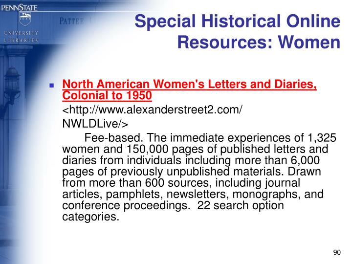 Special Historical Online Resources: Women