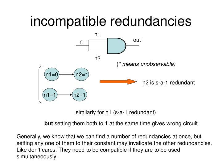 Incompatible redundancies
