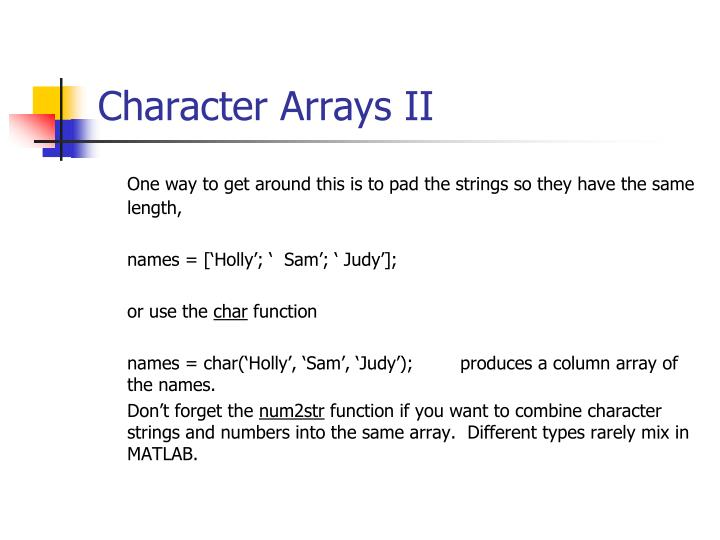Character Arrays II
