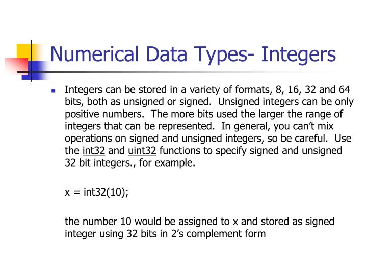 Numerical Data Types- Integers