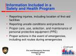 information included in a safety and health program