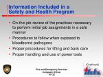 information included in a safety and health program2
