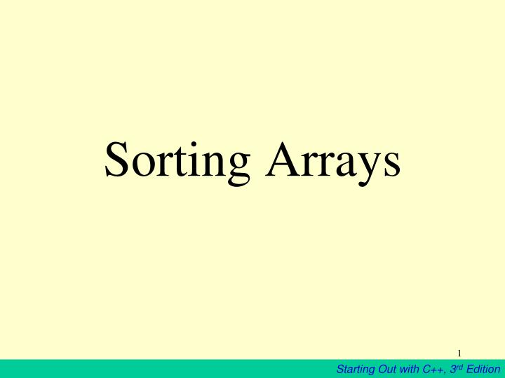 sorting arrays n.