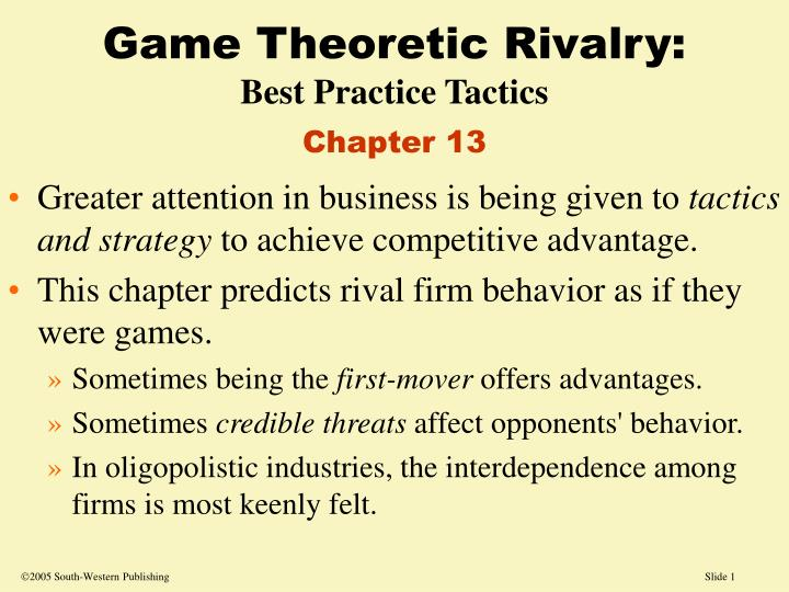 game theoretic rivalry best practice tactics chapter 13 n.