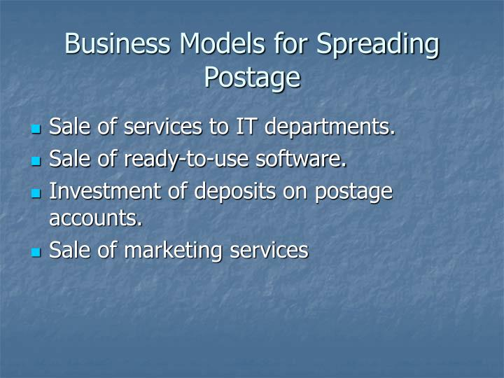 Business Models for Spreading Postage