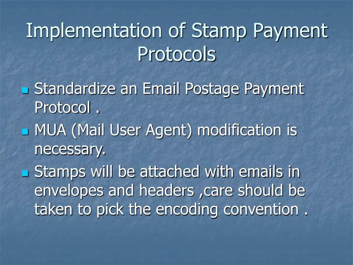 Implementation of Stamp Payment Protocols