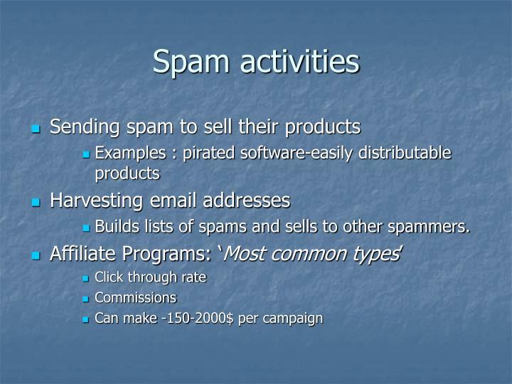 Spam activities