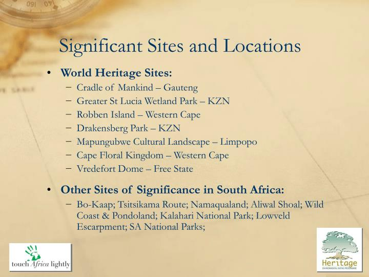 Significant Sites and Locations