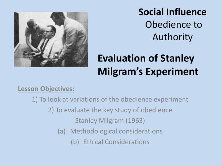 Social influence obedience to authority