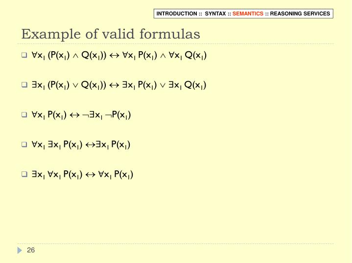 Example of valid formulas