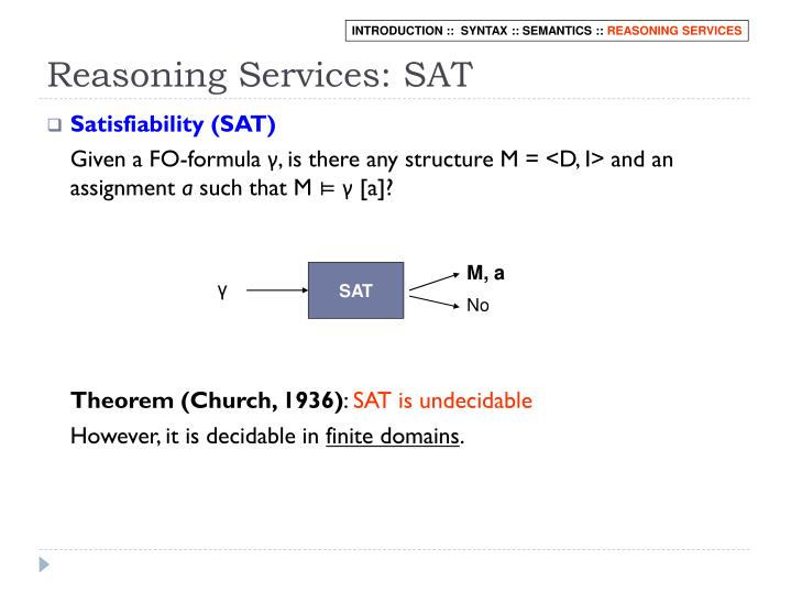 Reasoning Services: SAT