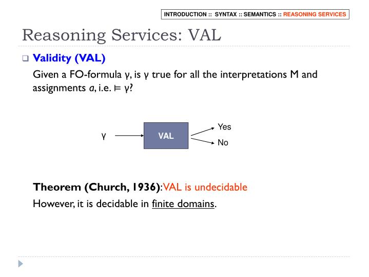 Reasoning Services: VAL