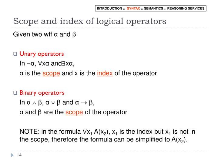 Scope and index of logical operators