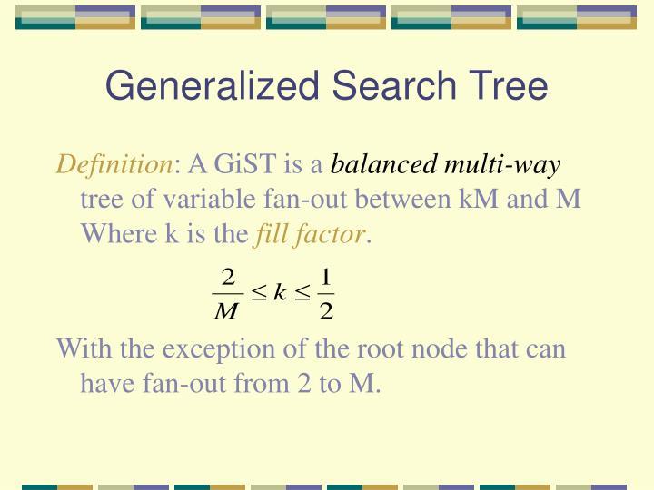 Generalized Search Tree