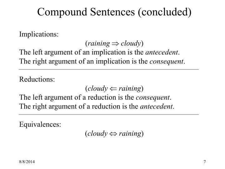 Compound Sentences (concluded)
