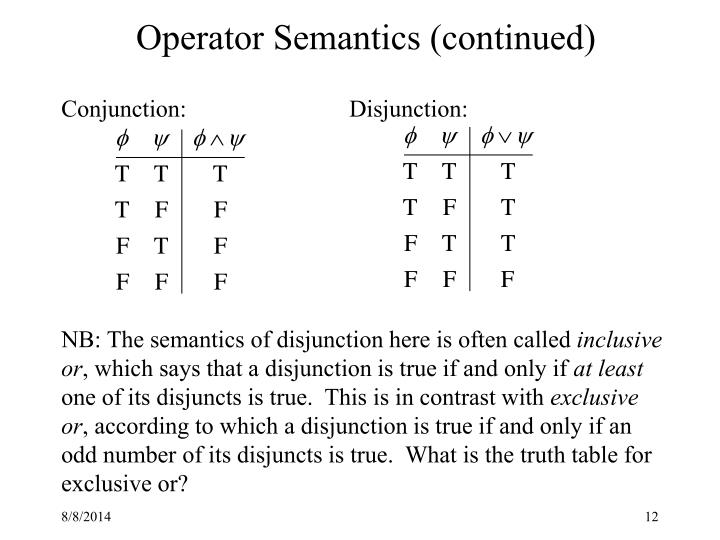Operator Semantics (continued)
