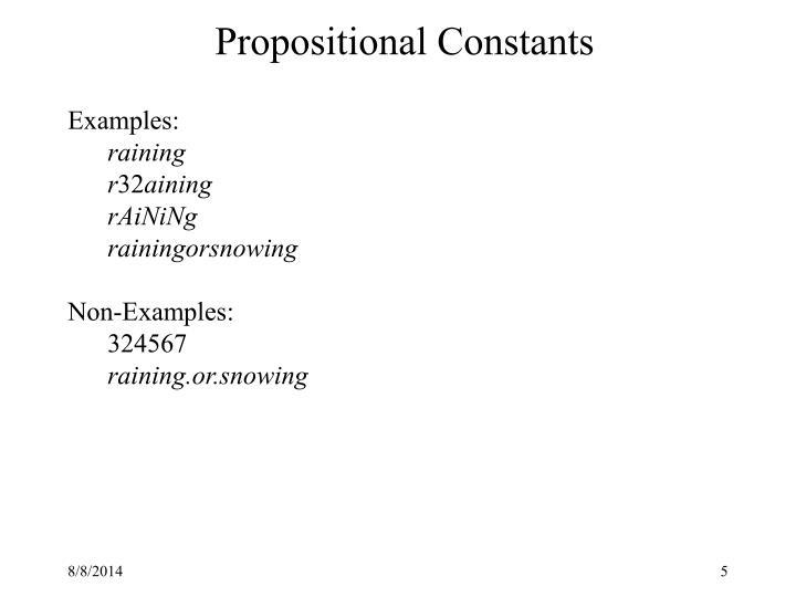 Propositional Constants