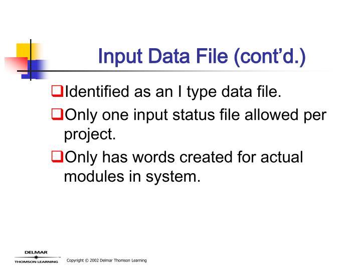 Input Data File (cont'd.)