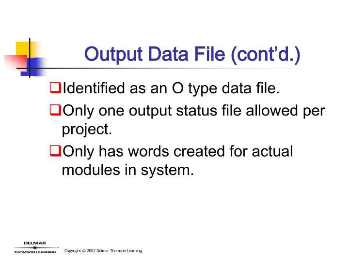 Output Data File (cont'd.)