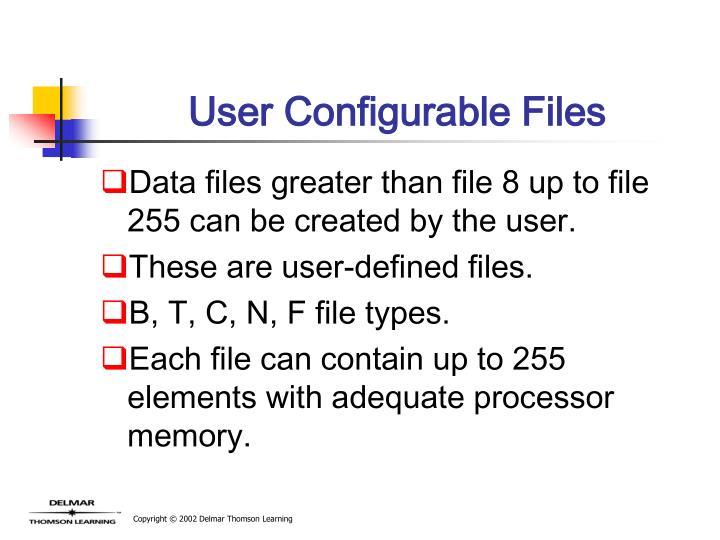 User Configurable Files