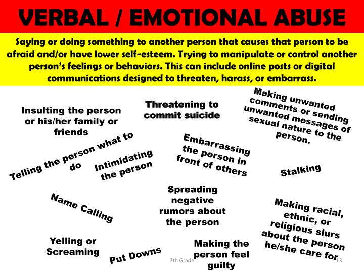 VERBAL / EMOTIONAL ABUSE