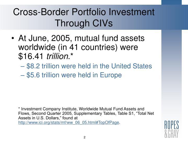 Cross border portfolio investment through civs