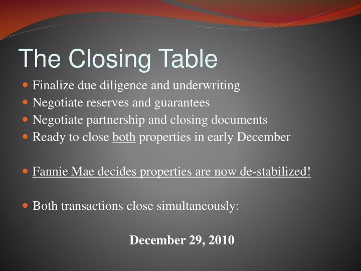The Closing Table