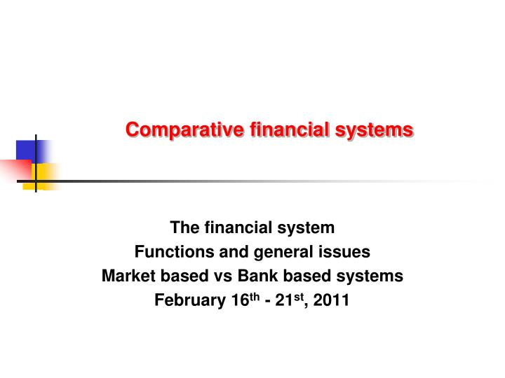 comparative financial systems n.