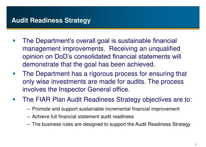Audit Readiness Strategy