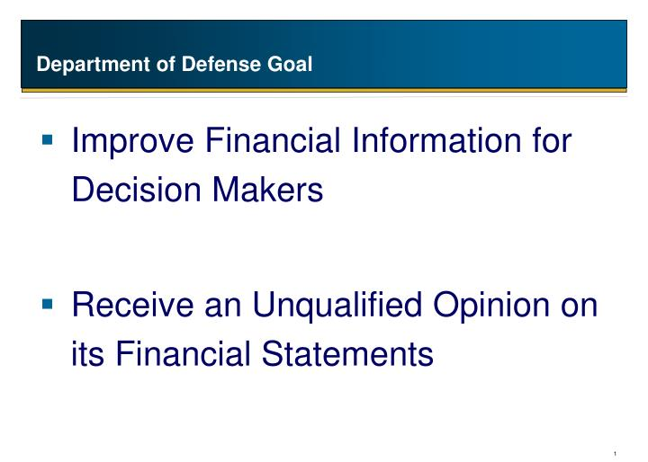 Department of defense goal