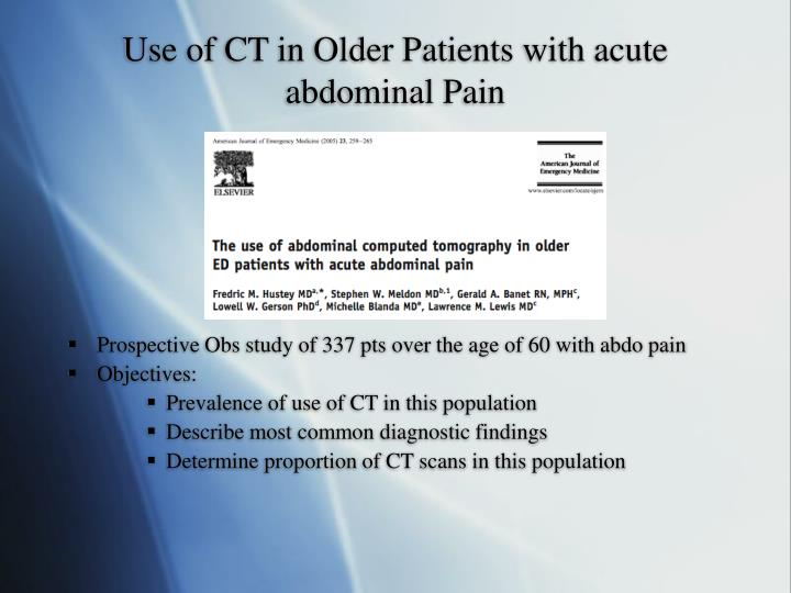 Use of CT in Older Patients with acute abdominal Pain