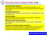 cai asia center outputs 2007 2008