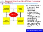 goals and objectives of the cai asia partnership and center