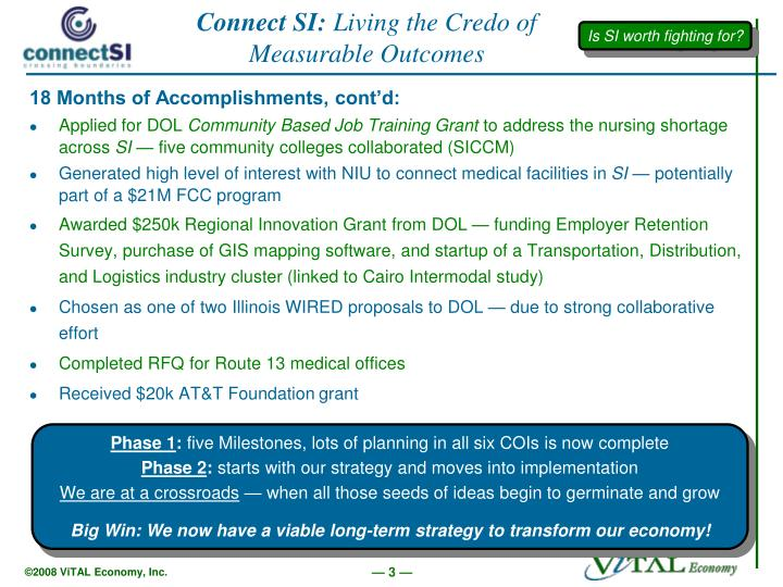 Connect si living the credo of measurable outcomes1