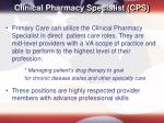 clinical pharmacy specialist cps