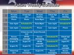 future weekly schedule
