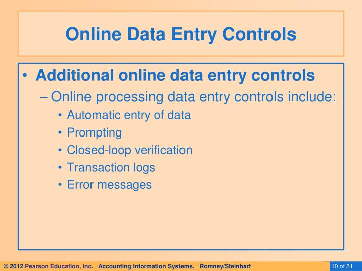 Online Data Entry Controls