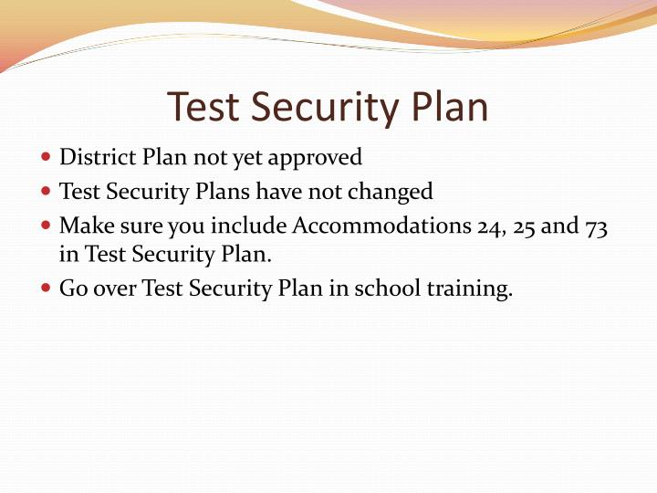 Test security plan