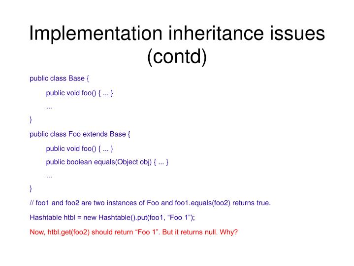 Implementation inheritance issues (contd)