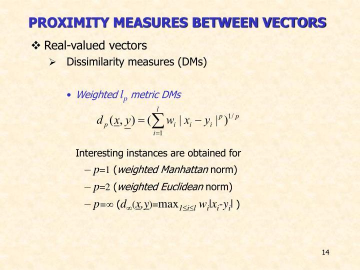PROXIMITY MEASURES BETWEEN VECTORS