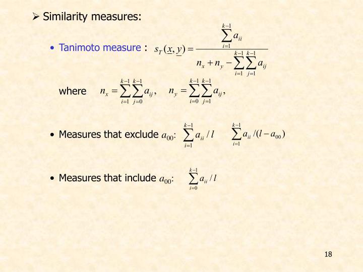 Similarity measures: