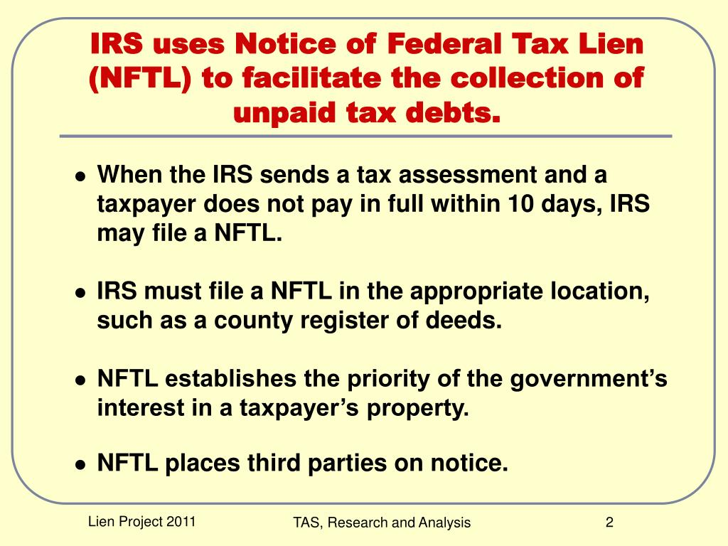 PPT - Estimating the Impact of Liens on Taxpayer Compliance