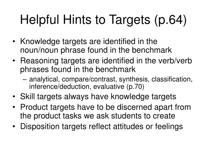Helpful Hints to Targets (p.64)