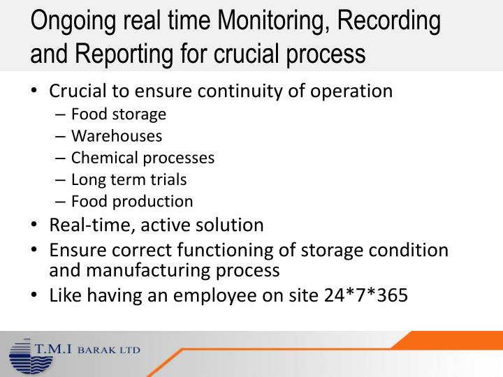 Ongoing real time Monitoring, Recording and Reporting for crucial process