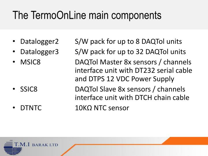 The TermoOnLine main components