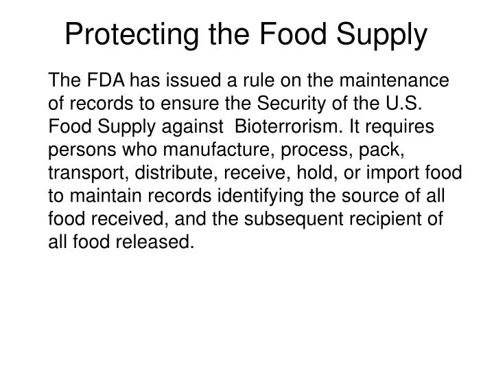 Protecting the Food Supply
