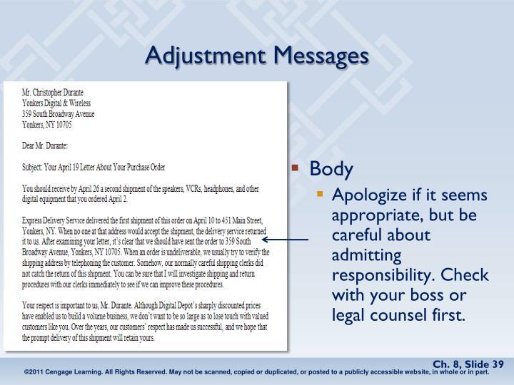 Adjustment Messages