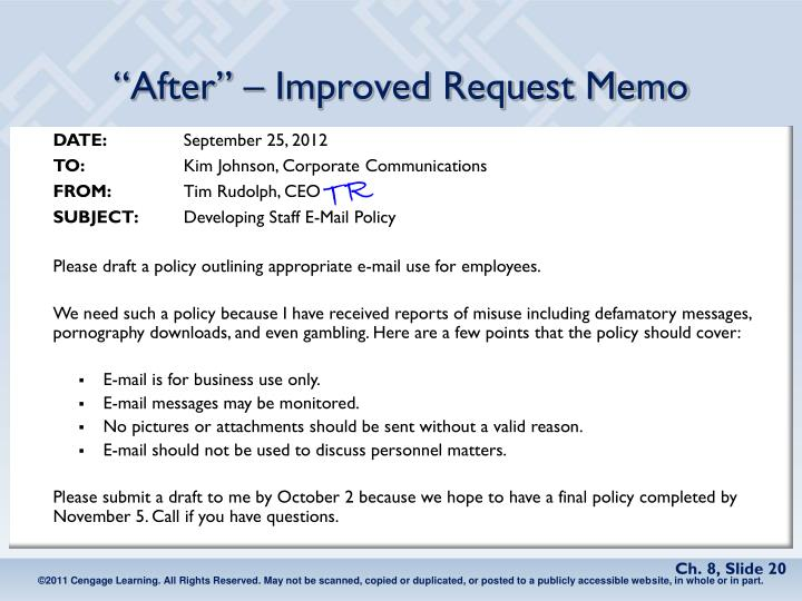 """""""After"""" – Improved Request Memo"""