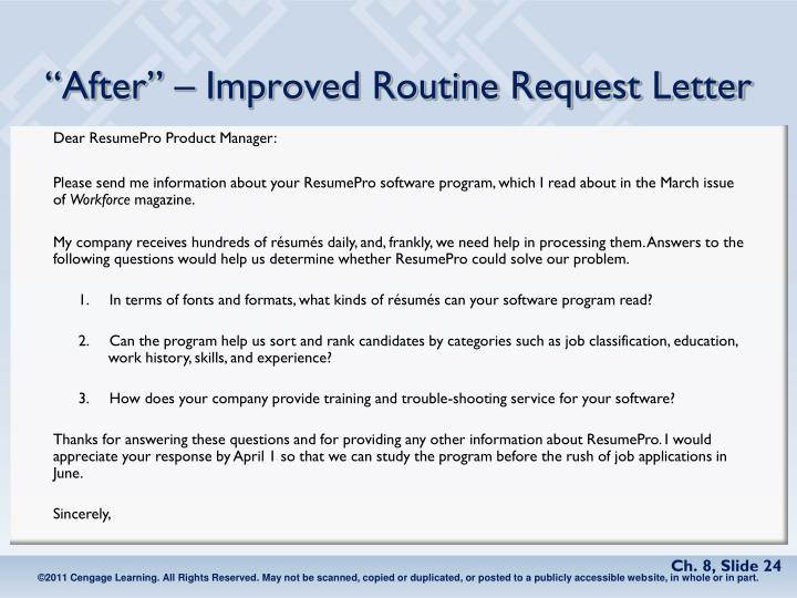 """""""After"""" – Improved Routine Request Letter"""