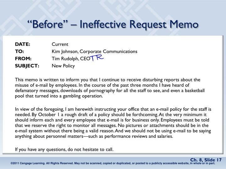 """Before"" – Ineffective Request Memo"